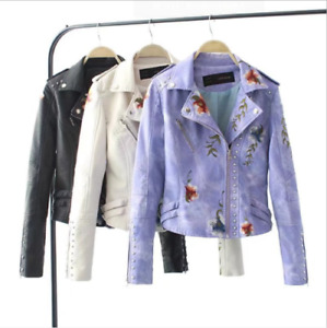 Women Floral Print Embroidery Faux New Soft Leather Jacket Coat Turn-Down Collar
