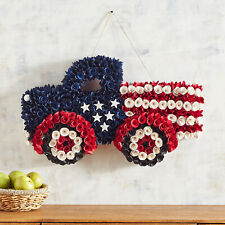 Pier 1 Imports Patriotic Wood Curl Truck Hanging Decor Red White Blue New
