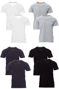 Herren Kurzarm T-Shirt V-Neck V-Ausschnitt Basic Shirt Kurzarmshirt 1er 2er Pack