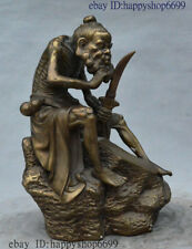 Collect Chinese Bronze Copper Geezer Old Man Hold Sword Shave Whiskers Sculpture