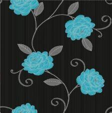 Wow Teal & Black Floral Leaf  Flower Designer Wallpaper Free P&P