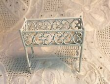 dollhouse miniatures white painted metal flower stand with legs