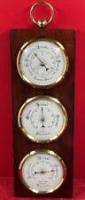 baromètre de précision Thermomètre Hygromètre, Station météo acajou laiton