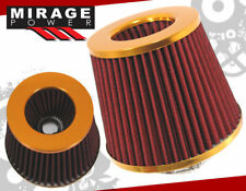 """TURBO/SUPERCHARGER 3"""" ID INNER HIGH FLOW AIR FILTER GOLD CELICA COROLLA MR2"""