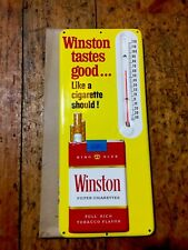 Vintage Original Metal Advertising WINSTON CIGARETTE THERMOMETER PRE-1966 SIGN.
