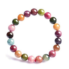 Natural Multi Pink Black Tourmaline Gemstone Bracelet Crystal Quartz Jewelry