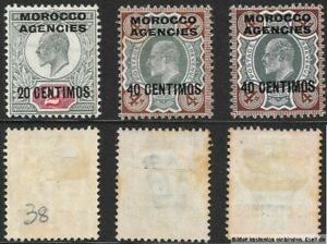 Morocco Agencies, Spanish Currency, 1907/12 KEVII 3 values. Hinged/Mounted Mint