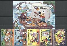 Walt Disney, Weihnachten, Twain - Dominica - 933-937, Bl.103 ** MNH 1985