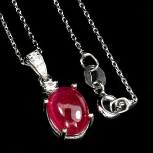 Oval Red Ruby 9x7mm Cz 14K White Gold Plate 925 Sterling Silver Necklace 18 Ins