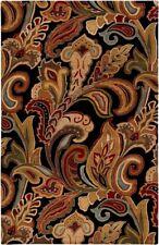 Surya Hand Made Wool 8x11 Black Transitional Leaf Rug - Approx 8' x 11'