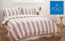 POLO Queen Bed Quilt Cover Set - Maddison Mauve & White Stripe