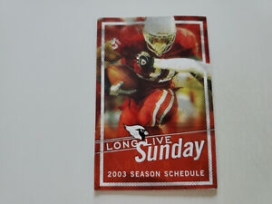 RS20 Arizona Cardinals 2003 NFL Football Pocket Schedule - Budweiser