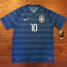 Authentic Nike Dri Fit CBF Brazil National Soccer Team Jersey 2014 Blue Away