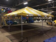 Used Yellow & White Canopy Tent 20 x 20 Frame Tent Party Fair Storage Shelter