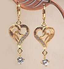 """18K Gold Filled 1.8"""" Earring Sweet Heart Hollow Laser Carving Circle Eardrop DS"""