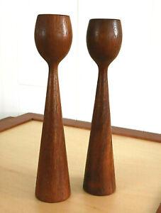 Mid-Century Modern Solid Teak Wood Candle Holders Danish Modern