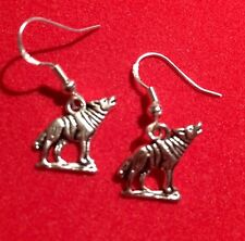 Antique Silver Alloy Howling Wolf Earrings,Handcrafted