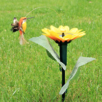 Sunflower with Solar Fluttering Hummingbird,Solar or Battery Power Garden Stake