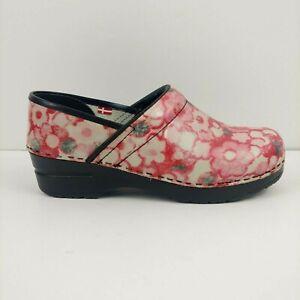 Sanita Womens Pink Blue Floral Leather Nursing Danish Clog Size 39 / 8 - 8.5 US