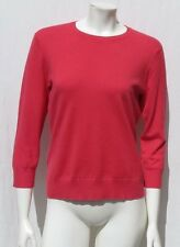 LANDS' END Women's Coral Silk Cashmere Fine Knit Crewneck Sweater sz M 10 12
