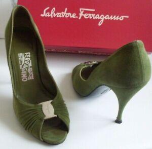 FERRAGAMO Designer Green Open Toe Pump Heels Court Shoes Size EU 40 UK 7 US 9.5