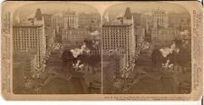 NEW YORK Broadway View From St Paul Bldg Post Office City Hall 1902 Stereoview