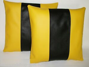 """2 Yellow & Black Stripe Faux Leather Cushions 16"""" 18"""" 20"""" & Inner Filler Pads"""