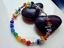 Handmade Seven Chakra chip round Gemstone Crystal Energy Healing Bracelet Reiki