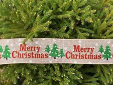 2.5 Inch Merry Christmas Tree snow Wired Ribbon 5 Yards
