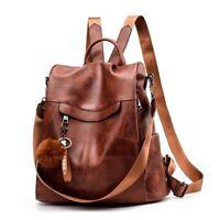 Women School Bags Teenage Girls Vintage Leather Anti Theft Shoulder Backpack