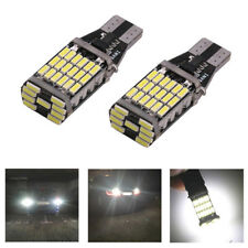 2 x T15 W16W 45 SMD 4014 Error Free LED Car Reverse Back 6000K White Light Bulbs