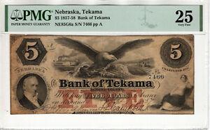 1857 $5 BANK OF TEKAMA NEBRASKA OBSOLETE NOTE CURRENCY PMG VERY FINE VF 25 (052)