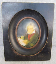 Portrait of Beethoven Antique Gouache Miniature Painting on Celluloid, framed