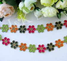 2 cm width Lovely Colorful Flowers Embroidery Lace Trim