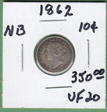 1862 New Brunswick 10 Cents Silver Coin - VF-20