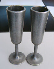 "Pair of Vintage Pewter Shot Glass 5.5"" Tall"