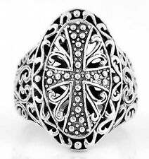 "SILVER ""GOTHIC STYLE FILIGREE CROSS"" RING SIZE 7"