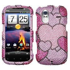 Cloudy Hearts Crystal Diamond BLING Hard Phone Case for T-Mobile HTC Amaze 4G