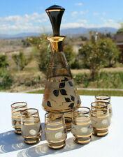 VTG Decanter Czech Bohemia Crystal Gold Stripe & Leaf Smoky Amber Liquor Set G1