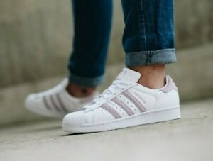 Women Adidas Superstar Running shoes white pink sneakers ( EE7400 ) , size: 9.5