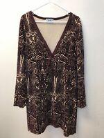 Juicy Couture Velour Long Sleeve Deep V-Neck Paisley Dress XL Purple Ivory