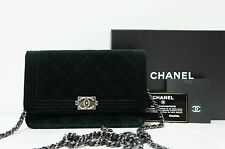 CHANEL Black Velvet Velour Boy Chanel WOC Wallet On Chain Shoulder Bag A137 NEW
