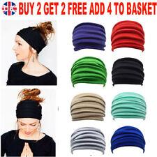 Women Ladies Yoga Wide Headband Elastic Fold Hair Band Sports Turban Head Wrap