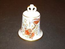 KAISER PORCELAIN BELL BROWN & ORANGE BIRD & FLOWERS WEST GERMANY