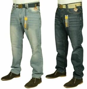 """Mens New Kam Straight Leg Slim Fit Jeans Branded Blue Denim Pants Sizes 30""""-40"""""""