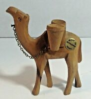 Vintage Carved Wood Camel Figure Made in Bethlehem Israel 4 Inches Tall Nativity