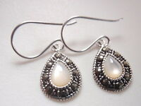 Very Small Mother of Pearl Marcasite Dangle Earrings 925 Sterling Silver