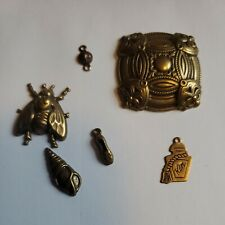 """6 """"misc. Group #21"""" bug shell scrapbook jewelry charm craft metal Gold Tone New"""