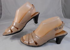 Solos by Softspots Womens Block Heels Sz 8 M Strappy Slingback Patent Med Beige