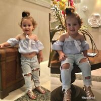 2PCS Toddler Kids Baby Girls Clothes Outfits T-shirt Tops +Holes Jeans Pants Set